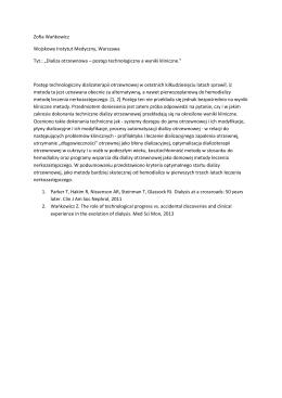 Dializa otrzewnowa – postęp technologiczny a wyniki kliniczne.