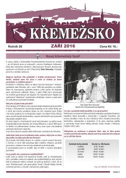 ZÁŘÍ 2016 - Městys Křemže