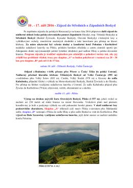 10 . - 17. září 2016 - Zájezd do Středních a Západních Beskyd
