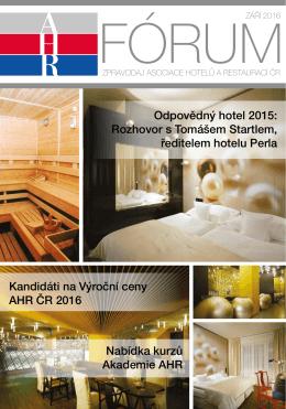 ahr fórum- září 2016 - Asociace hotelů a restaurací České republiky