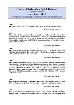 Usnesení Rady města Česká Třebová z jednání konaného dne 19