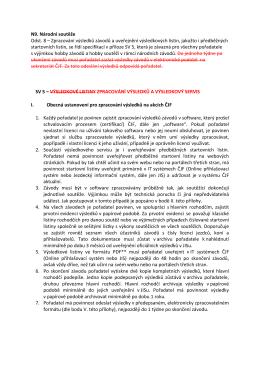 N9. Národní soutěže Odst. 8 – Zpracování výsledků závodů a