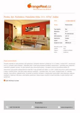 Prodej, byt, Pardubice, Palackého třída, 3+1, 107m2