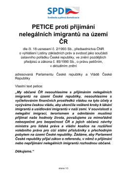 PETICE proti přijímání nelegálních imigrantů na území ČR