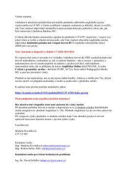 Informace ke vstupnímu testu do předmětu Angličtina