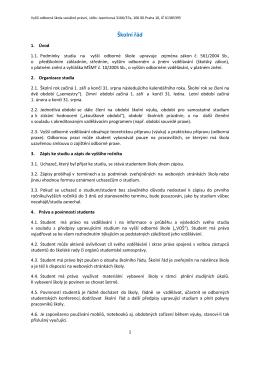 Školní Řád Školní řád VOŠ sociálně právní v Praze 10