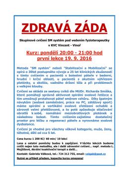 Cvičení Zdravá záda s fyzioterapeutkou Gabrielou - Praha