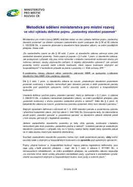 Metodické sdělení - Ministerstvo pro místní rozvoj