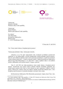 Dopis premiérovi a ministrovi spravedlnosti