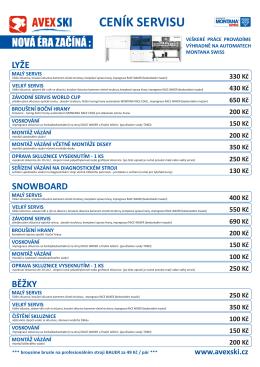 Ceník půjčovny ke stažení ve formátu PDF.