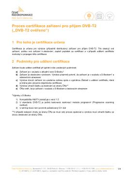 Proces certifikace DVB-T2 ověřeno