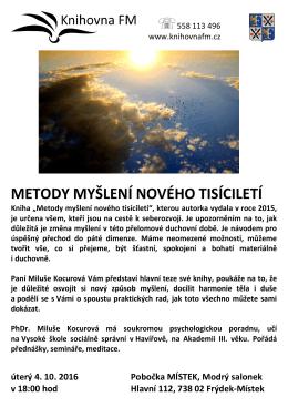 """METODY MYŠLENÍ NOVÉHO TISÍCILETÍ Kniha """"Metody myšlení"""