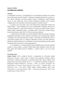 Sladek-JM a dialektika-anotace