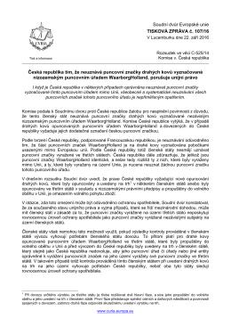 Česká republika tím, že neuznává puncovní - curia