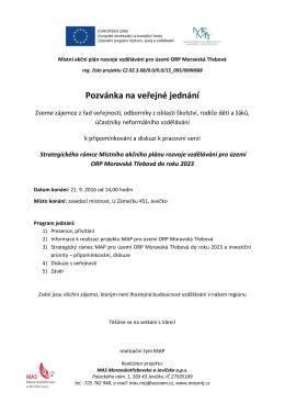 Pozvánka na veřejné jednání - MAS Moravskotřebovsko a Jevíčsko