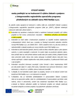 Etický kodex pro osoby podílející se na