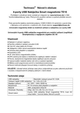 Technaxx® Návod k obsluze 4-porty USB Nabíječka Smart