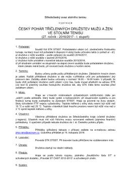 český pohár tříčlenných družstev mužů a žen ve stolním tenisu