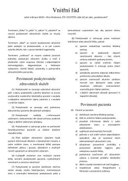 Vnitřní řád - MUDr. Věra Holubcová
