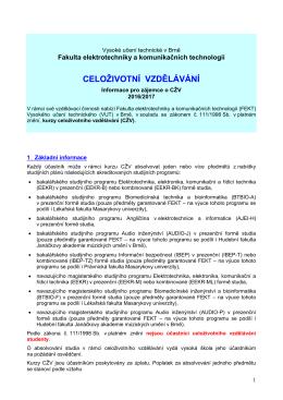 Základní informace - Fakulta elektrotechniky a komunikačních