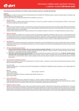 Informace a sdělení před uzavřením Smlouvy o zajištění