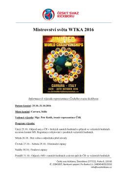 Mistrovství světa WTKA 2016
