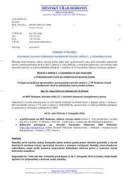 VEŘEJNÁ VYHLÁŠKA - Veřejné projednání návrhu změny č.2 ÚP