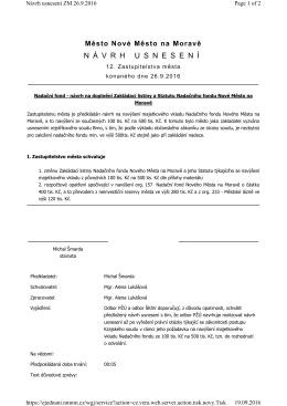7)Nadační fond-návrh na doplnění Zakládací listiny a Statutu