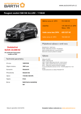 Peugeot osobní 508 SW ALLURE / 110kW