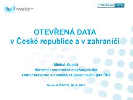 zveřejňovaných jako otevřená data
