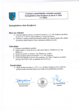 Usnesení č. V/2016 z mimořádného veřejného zasedání ZO Krajková
