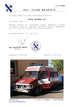 Záměr na prodej hasičského automobilu