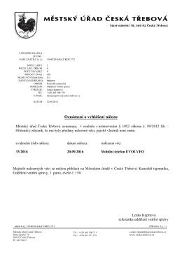 Oznámení o vyhlášení nálezu ev.č. 33/2016