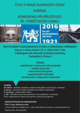 ČVUT v Praze, Kloknerův ústav, pořádá konferenci k 95.výročí