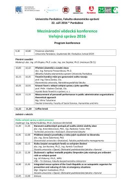 Program konference - Univerzita Pardubice