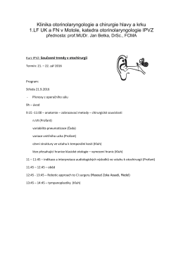 Klinika otorinolaryngologie a chirurgie hlavy a krku