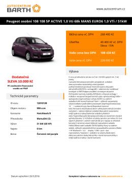 Peugeot osobní 108 108 5P ACTIVE 1,0 Vti 68k MAN5 EURO6 1,0