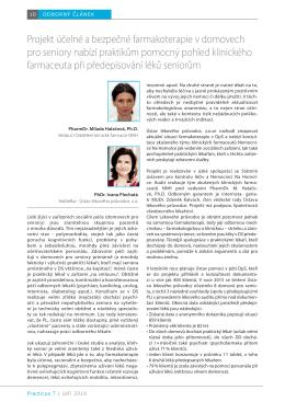 Projekt účelné a bezpečné farmakoterapie v domovech