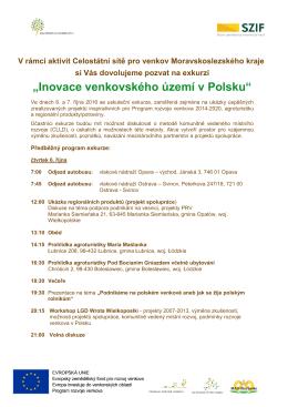 """Pozvánka na exkurzi """"Inovace venkovského území v Polsku"""""""