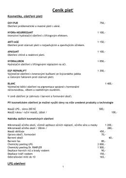 Ceník pleť - Derma body clinic