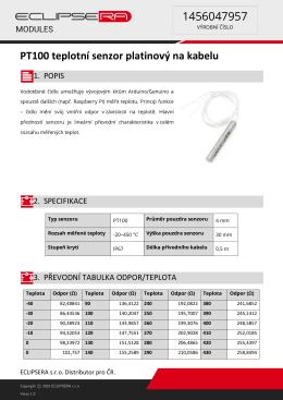 PT100 teplotní senzor platinový na kabelu