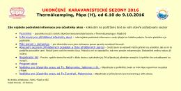 podrobné informace - Camping club Rožnov
