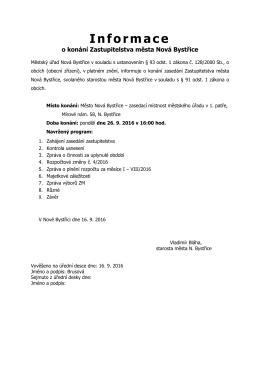 Informace o konání zasedání Zastupitelstva Města Nová Bystřice