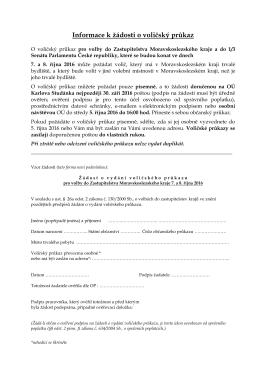 Informace k žádosti o voličský průkaz