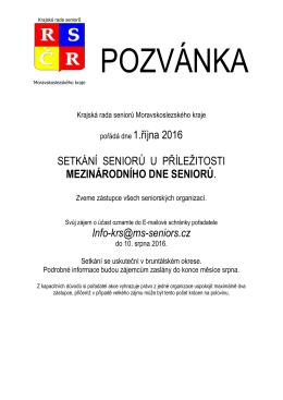 Pozvánka - Krajská rada seniorů Moravskoslezského kraje