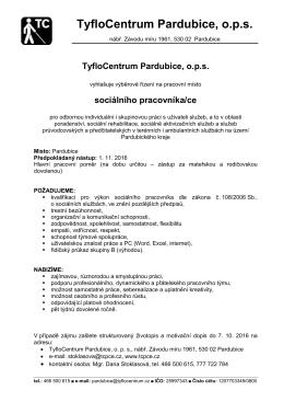 sociálního pracovníka/ce - TyfloCentrum Pardubice, o.p.s.