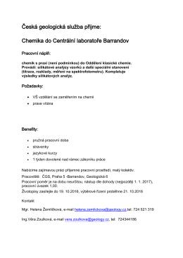 Česká geoligická služba - Chemik do Centrálních laboratoří Barrandov