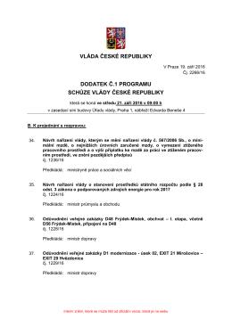 vláda české republiky dodatek č.1 programu schůze vlády české