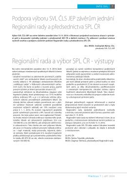 Regionální rada a výbor SPL ČR - výstupy