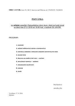 Pozvánka na zasedání ZO Javor dne 27.9.2016